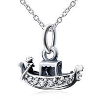 Sterling Silver Ship Necklace Pendant With 18'' Cable Chain