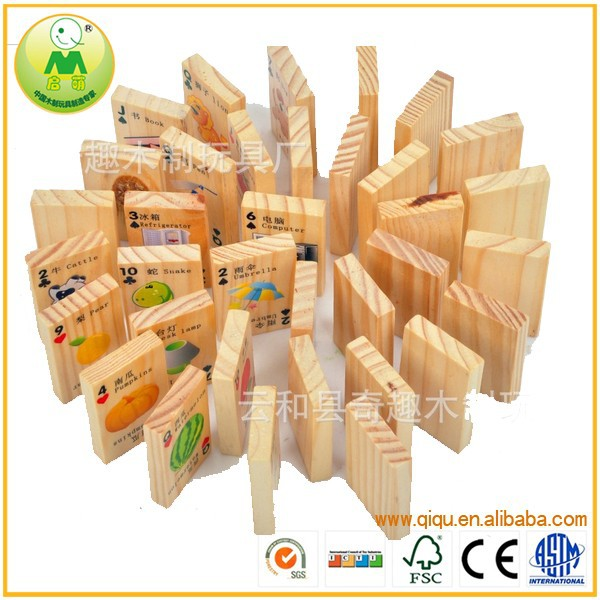 Top Selling Toy Kid Play Happy Domino Wooden Blocks QQTH-036