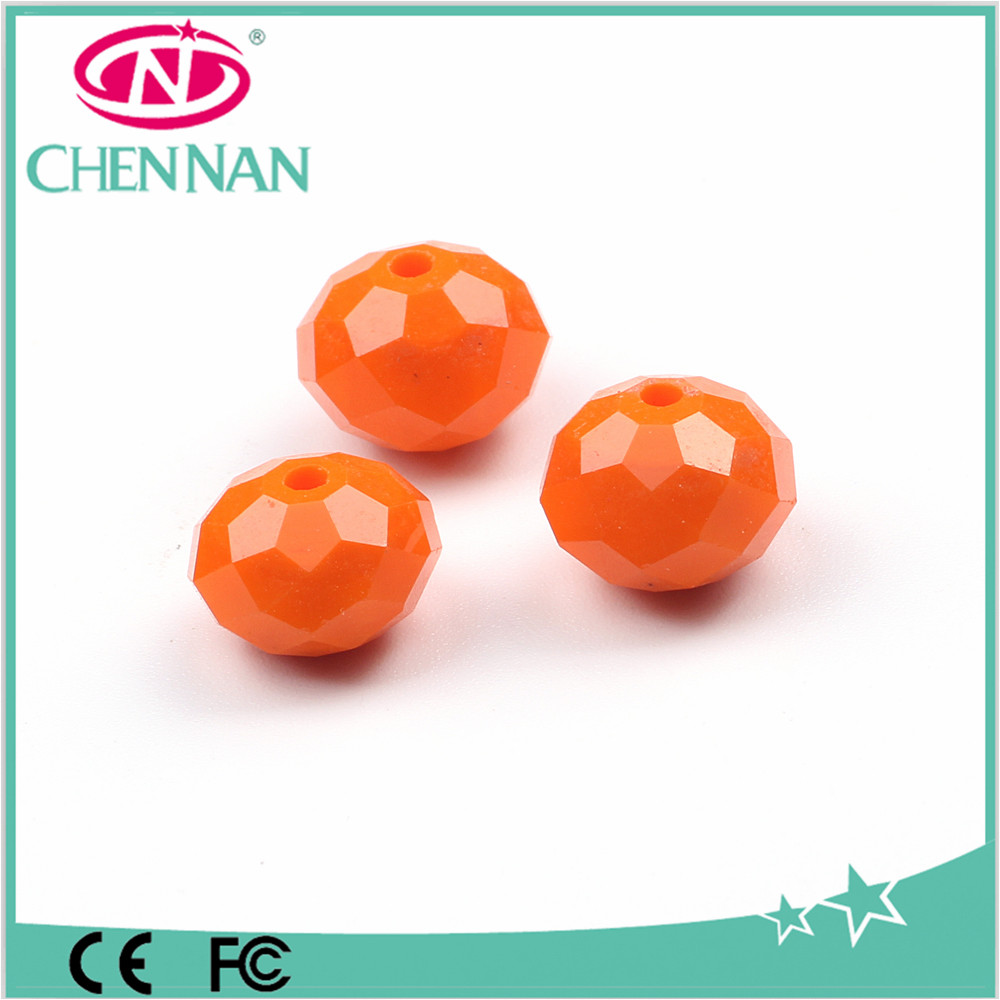 12mm orange chandelier glass flat beads by machine