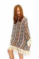 Free Size Brown Bohemian Chiffon Blouse V Neck Summer Fashion Clothing Thailand