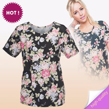 10pcs selling New arrival top hot factory wholesale latest fashion women black roses t-shirt bangladesh for fashion women wear