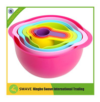 Food Grade Plastic PC 8pcs Sweet Color Plastic Mixing Bowl