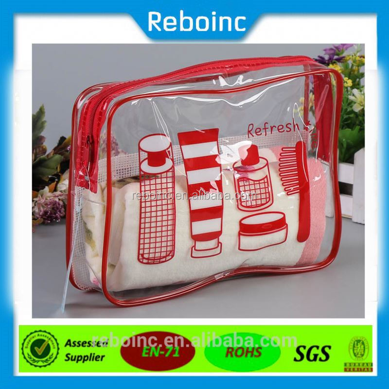 Wholesale customized printed small plastic pvc vinyl bag bikini clear pvc zipper bag