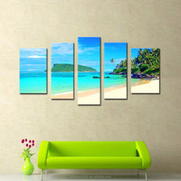 LK577 5 Panel Canvas Print Wall Art Painting Seaside Oil Paintings Seascape Modern Giclee Artwork Oil The Picture For Living Ro