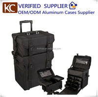 professional salon nylon case,4 in 1 rolling makeup case,Super lightweight & Strong,Nylon Rolling Cosmetic Case.