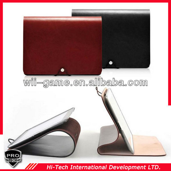 Genuine Calf Skin Thick Ipad Case Book style Cover for Apple iPad 4 Real
