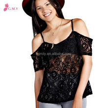 cheep strap blouse off shouder short sleeves casual lace wholesale halter top patterns