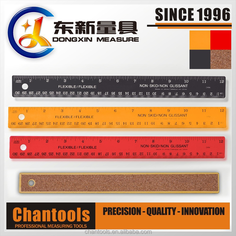 [CHANT] Non-skid printed stainless steel ruler with cork back