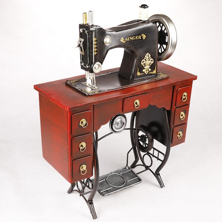 Antique Imitation Iron Upright Pedal Sewing Machine Crafts Model For Toggery Showcase Decoration