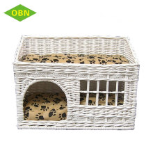 Customized dog cat house wholesale cheap price white natural wicker pet basket with cushion