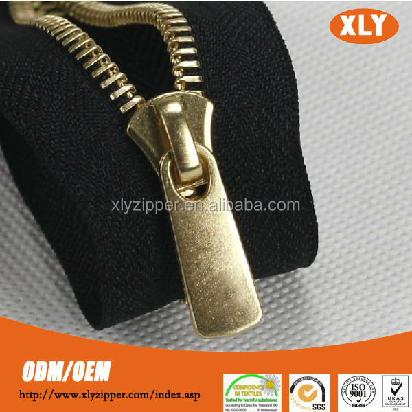 new design shiny gold large metal industrial zipper