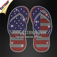 Wholesale flip flop pattern custom iron on rhinestone applique designs