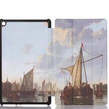 Tri-fold Eiffel oil painting Kids Friendly PU Leather Case Cover for Amazon Kindle Fire HD 8 Tablet Case
