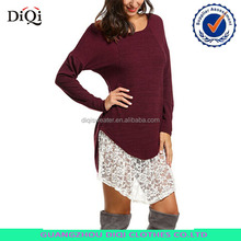 Latest Design Women Lace Oversized Knit Sweater Shirt dress Pullover Tunic Tops