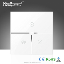 Hot Sales Wallpad White Glass LED 110~250V Wireless 3 Gang Wifi Electrical Power Remote Control Speed Rotary Fan Wall Switch