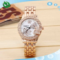 Geneva Butterfly Diamonds Stainless Steel Back Quartz Quality Watches
