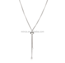 Stainless Steel Tassel Pendant Necklace,High Polish Stainless Steel Box Chain Necklace