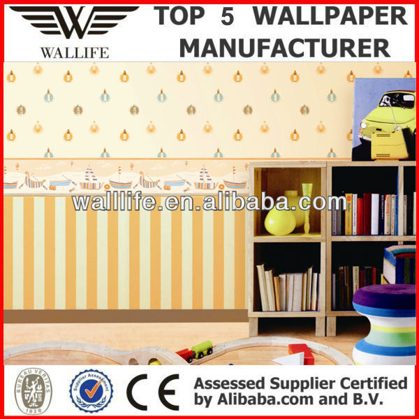 GB72107/cartoon design washable vinyl pvc kids wallpaper for children room