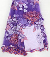african tulle french lace fabrics new purple hand embroidery design dress fabric with stone