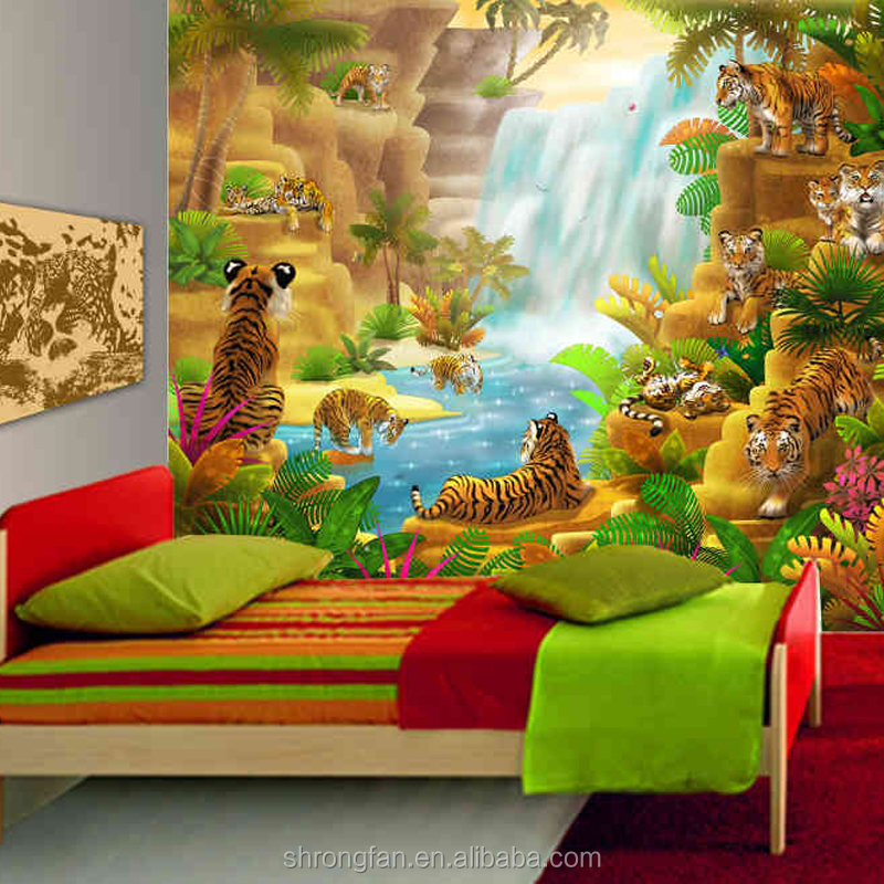 Wholesale Digital Printing Wallpaper Animation Kids Interior Decoration Wall Paper Mural