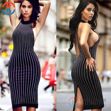 2017 New design lady backless tube clothing sexy bandage black bodycon summer women dress with beaded