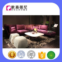 High end modern fabric sofa set designs purple sectional sofa