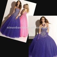 NY-2340 Glamous beaded bodice with organza skirt quinceanera dress