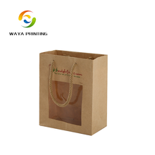 Factory Toys package custom logo brown kraft paper bag with window