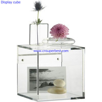 Small transparent acrylic display cube