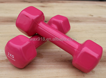 Hexagonal dumbbells for sale PVC vinyl dipping dumbbell