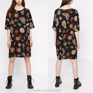 summer black floral print 100 cotton midi dresses for young LADY