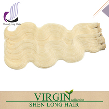 Wholesale original blonde Indian remy hair weave unprocessed virgin body wave hair weave, 613 color weave human hair