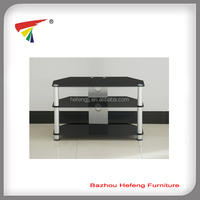 Tempered glass TV stand aluminum tube living room furniture
