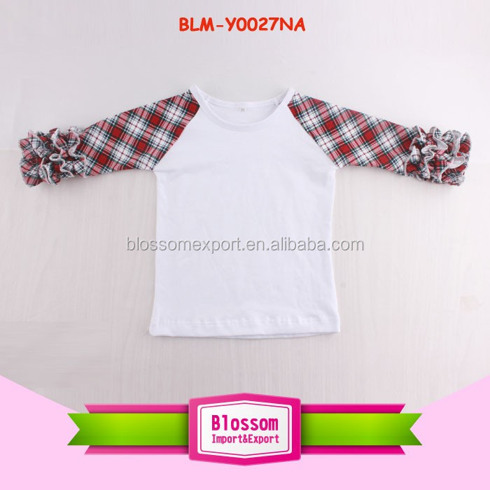 Monogram Blanks Multicolor Boutique Girl Clothing Wholesale Icing Girls Ruffle Shirt Toddler Icing Ruffle Raglan
