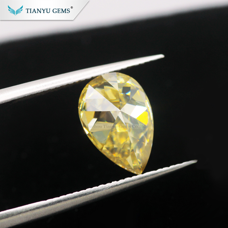 Tianyu Gems 8*10mm Pear Modified Brilliant <strong>Cut</strong> Synthetic Yellow Moissanite Loose