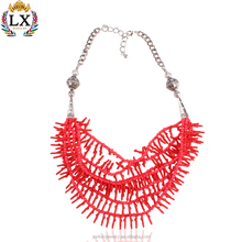 NLX-00304 multi layer red coral necklace price coral beads jewelry designs