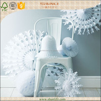 Christmas party decoration handmade white Snowflake Paper Fan decorations
