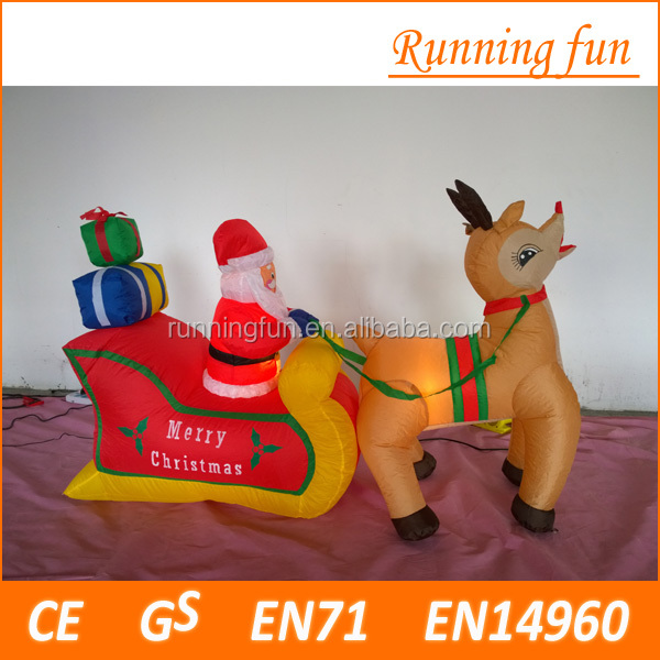 Funny Christmas Inflatable Decoration Have Light With Snowman, Santa Claus, Elk, Tree