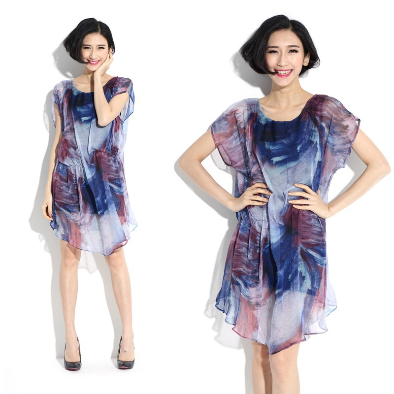 2015New Fashion Women Colorful graffiti shirred Faux two Chiffon Dress ladies Summer batwings Sleeve loose Vestidos plus size