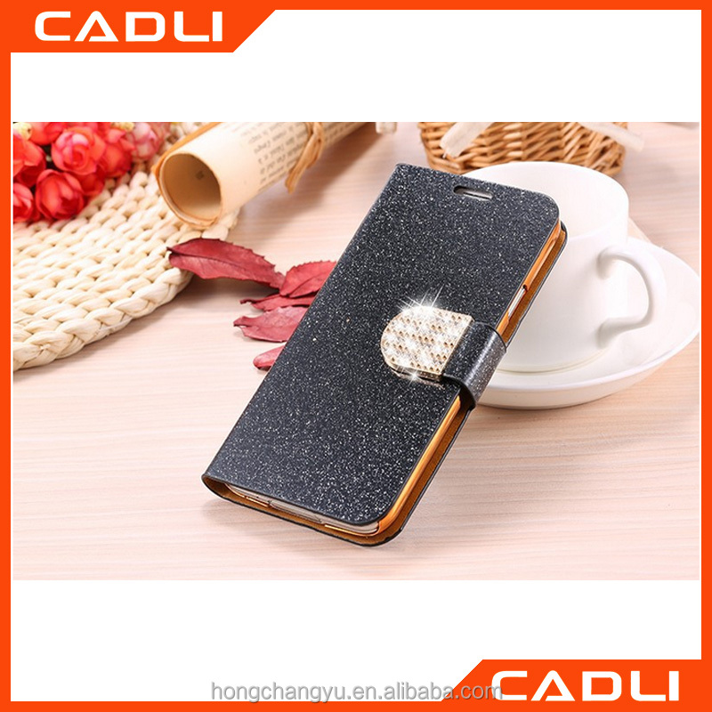 Newest Leather Flip Cases Bling Shining Glitter Diamond Case For Samsung Galaxy S5 Wallet Cases With Stand