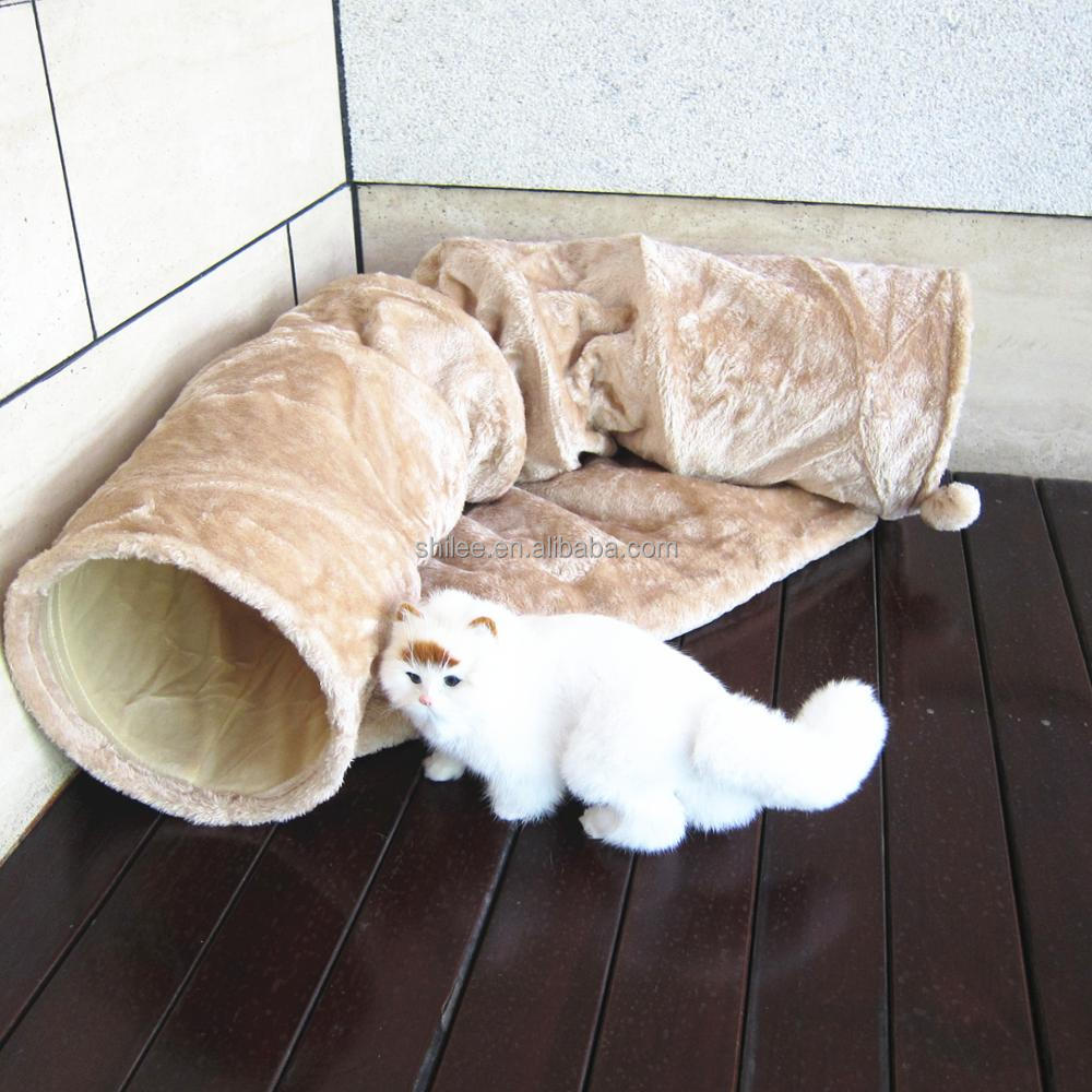 Double use cat tunnel toy and comfortable plush cat bed outdoor