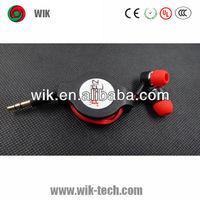 wik new retractable oem or odm high quality cheap mp3 earphones