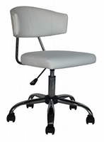 White Color PU & PVC Office Chair Without Arms