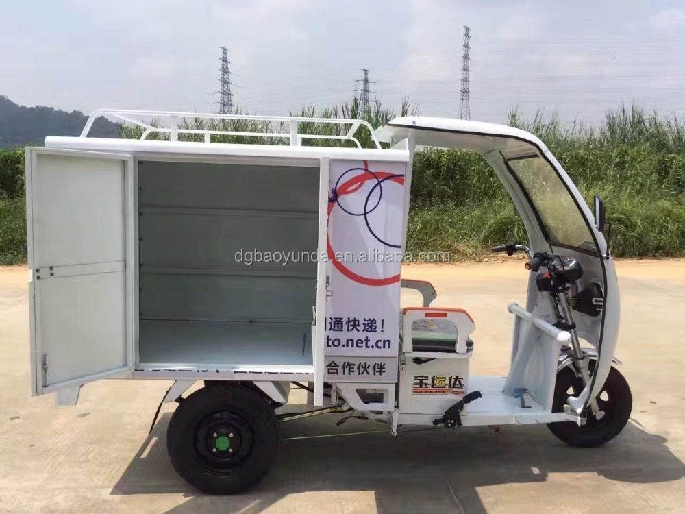 Africa cheap price white or green cabin delivery electric tricycle 2017