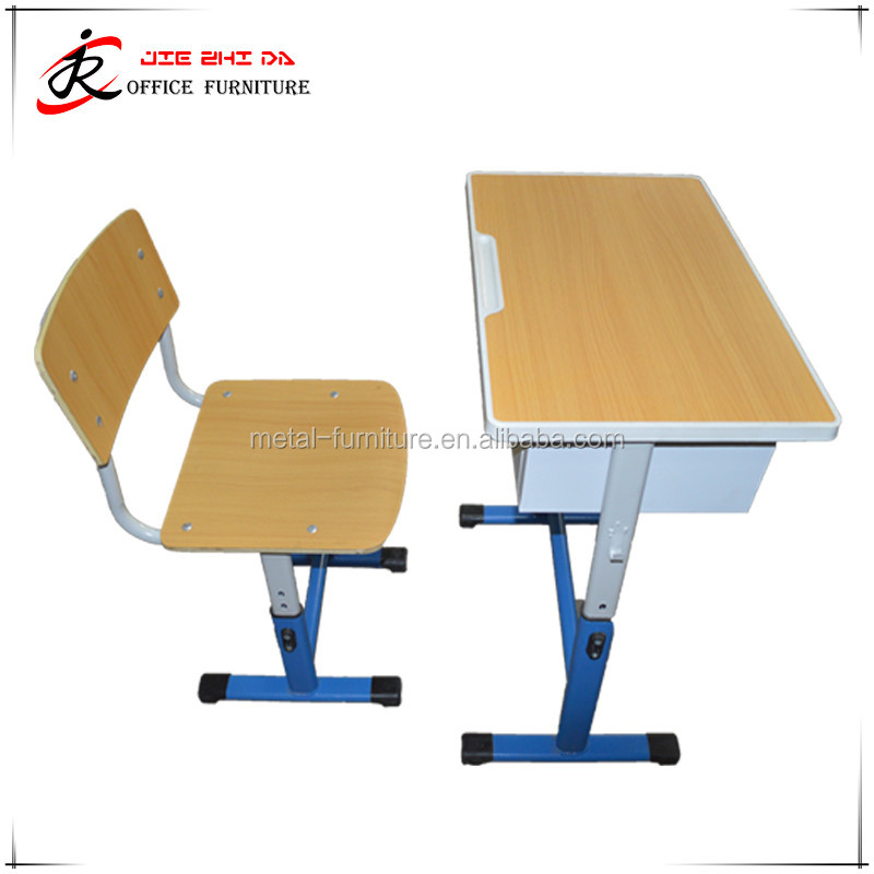 Wholesales new design wooden single adjustable classrrom adult study table chair for sale