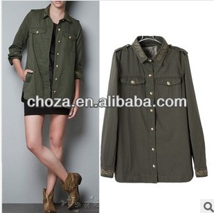 C60309A 2013 THE FASHION NEWEST STYLE FOR WOMEN'S EMBROIDERY GREEN SHOULDER CHARTER UNIFORM COAT