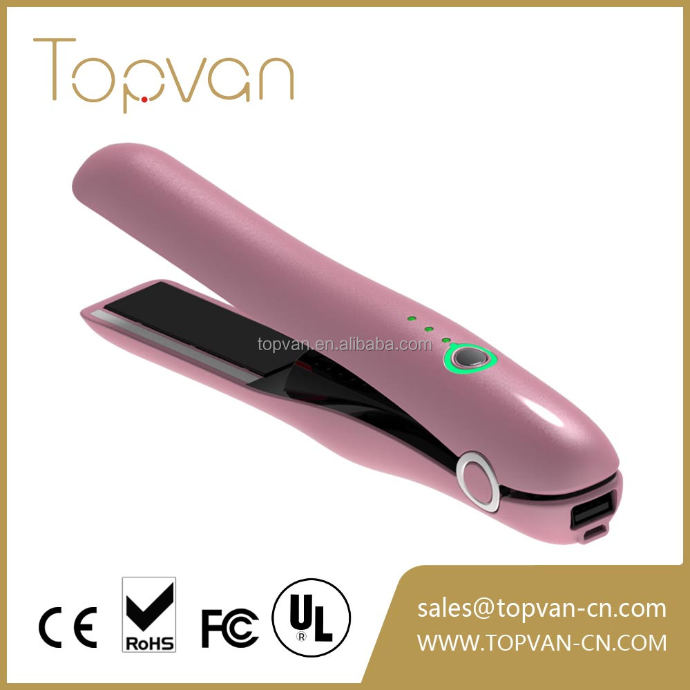 wireless mini hair straightener flat iron