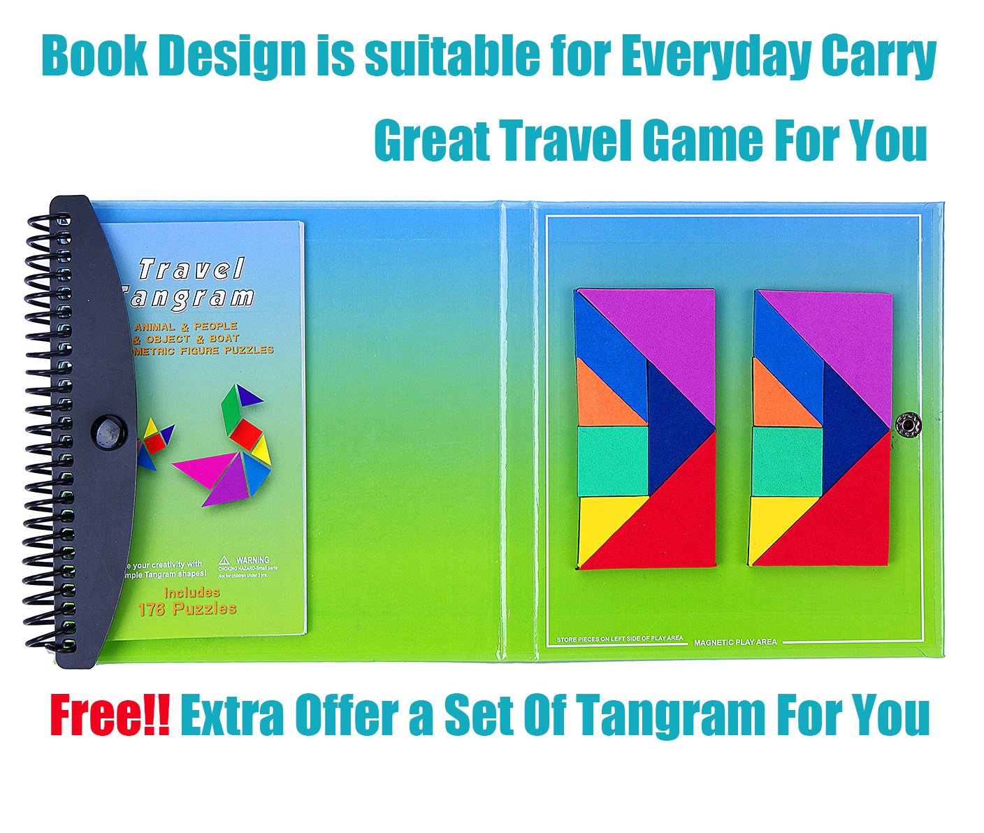 Educational diy colorful custom 7-piece magnetic tangram game toy set eva puzzle blocks game for child