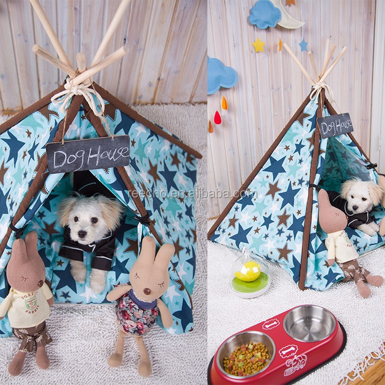 Cotton Fabric Pet Teepee Tent Dog Cat House