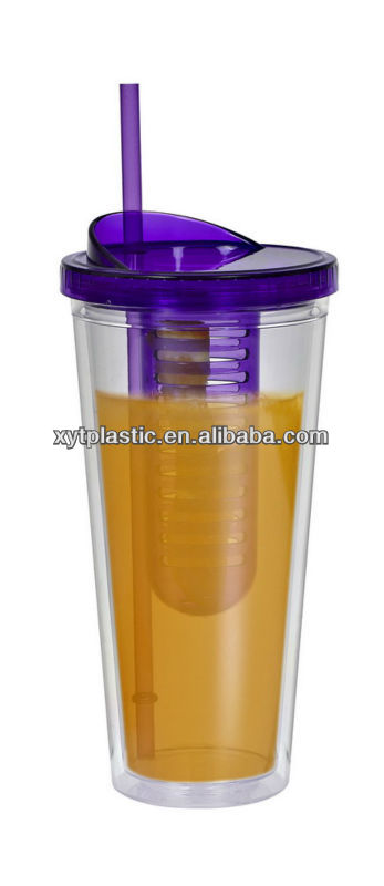 Customzied Promotional Double Wall plastic Cup with straw Cutlery Travel Set 2014